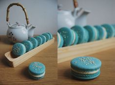 turquoise Blueberry Sesame Aquafaba Macaroons — made w/the leftover water from chickpeas instead of egg whites! Vegan Treats, Vegan Foods, Vegan Desserts, Vegan Recipes, Dessert Recipes, Cooking Recipes, Vegan Meringue, Meringue Cookies, Vegan Macarons