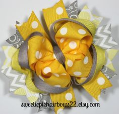 Yellow and Grey Hair Bow Deluxe Boutique Hairbows Funky Chevron Hairbow. $8.99, via Etsy.