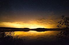Starry night at a small lake in Finland.