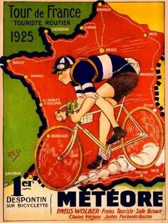 Shop for 1925 Tour de France Bicycle Race Paris France Vintage Travel Art Poster Print. Get free delivery On EVERYTHING* Overstock - Your Online Art Gallery Store! Map Vintage, Velo Vintage, Vintage Cycles, Retro Poster, Vintage Travel Posters, Vintage Golf, Poster Bike, Poster S, Poster Prints
