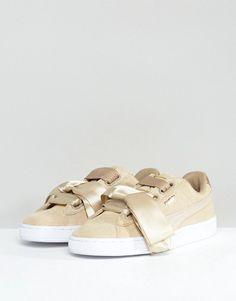 Puma Basket Heart Sneakers With Metallic Trim In Tan - Tan