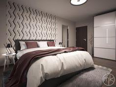 pokoj pro hosty s výraznou tapetou