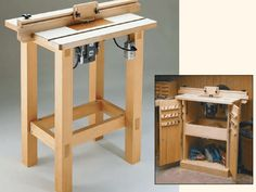 A wooden router table.
