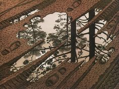 """M.C. Escher, """"Puddle,"""" 1952, woodcut printed from three blocks"""