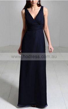 A-line V-neck Floor-length Chiffon Empire Evening Dresses gt1806