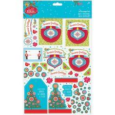Papermania Folk Christmas A4 Decoupage Pack - Season's Greetings, Linen Finish