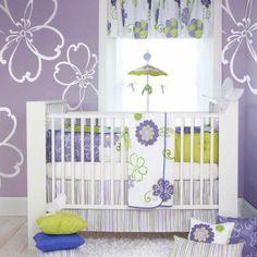 Cheap Designer Purple and Green Flower Baby Girl Nursery 4pc Crib Bedding Set on eBay!