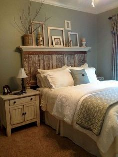 Rustic chic bedroom decor shabby furniture within Farmhouse Master Bedroom, Master Bedroom Design, Modern Bedroom, Bedroom Designs, Bedroom Rustic, Shabby Chic Bedrooms, Bedroom Vintage, White Bedrooms, Headboards For Beds