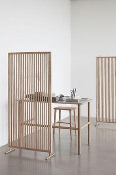 Hubsch Interior - Folding screen, room divider made of oak - - - Bar Furniture, Home Office Furniture, Home Office Decor, Home Decor, Office Ideas, Corner Furniture, Business Furniture, Office Designs, Furniture Showroom