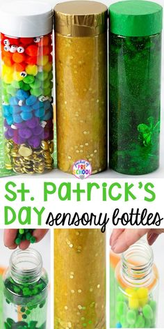 Patrick's Day Sensory Bottles – Pocket of Preschool St. Patrick's Day sensory bottles (gold coins, clovers, and rainbow letters) to help students calm down, observe (science), and learn letters. Sensory Bins, Sensory Activities, Sensory Play, Preschool Activities, Sensory Rooms, Sensory Boards, Preschool Classroom, Toddler Preschool, April Preschool