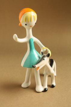 Art deco porcelánok: Piroska és a farkas