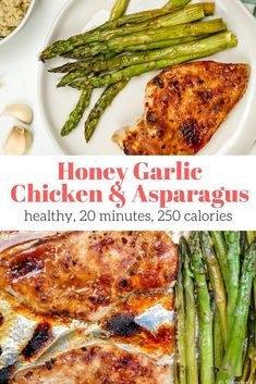 Honey Garlic Chicken and Asparagus – Slender Kitchen. Works for Clean Eating, Gl… Honey Garlic Chicken and Asparagus – Slender Kitchen. Works for Clean Eating, Gluten Free, Low Carb, Paleo and Weight Watchers® diets. Chicken Asparagus, Honey Garlic Chicken, Asparagus Recipe, Garlic Parmesan, Parmesan Broccoli, Baked Chicken, Healthy Garlic Chicken, Healthy Recipes, Clean Eating Snacks