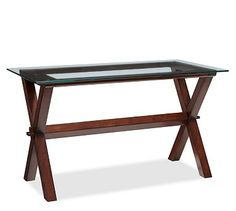 Ava Wood Desk - Espresso stain #pottery barn...Found a thick piece of glass in my basement that would be perfect for something like this!