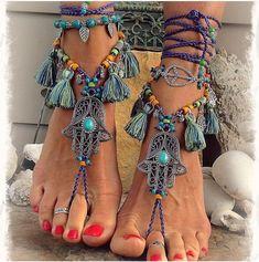 Fashion Jewelry Pulsera Tobillera Algodon Decoracion Pies Handmade Cotton Knitted Anklet Jewelry & Watches