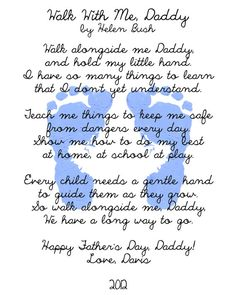 Walk with Me Daddy Poem and Footprints Keepsake by SSDdesign, $15.00