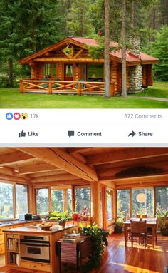 Awesome Concepts to create your perfect log cabin in the mountains or next to a river. A must-have to take refuge from our crazy crazy life. Small Log Cabin, Tiny House Cabin, Little Cabin, Log Cabin Homes, Cottage Homes, Cabin In The Woods, Villa, Small House Plans, Small Home Kits