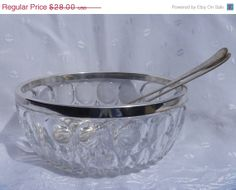 Sheffield Salad Bowl Silver Plated Rim Cut by EauPleineVintage Antique Glassware, Mini Things, Beveled Glass, Salad Bowls, Sheffield, Dinner Table, Serving Dishes, Or Antique, Vintage Home Decor