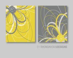Flower Art Prints Flower Bathroom Art by – Toptrendpin Flower Nursery, Nursery Art, Nursery Prints, Art Floral, Yellow Wall Decor, Gray Decor, Decoration Gris, Grey Wall Art, Bathroom Art