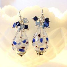 LAMPWORK GLASS EARRINGS  Blue / Black Dots crystal by besboutique, $18.00
