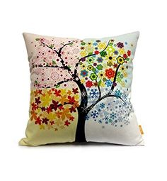 OJIA Cotton Home Decorative Throw Pillow Cover Cushion Case, Colorful Tree x >>> Special offer just for you. Bow Pillows, Kids Pillows, No Sew Pillow Covers, Throw Pillow Cases, Cushion Covers, Gifts For Cancer Patients, Colorful Trees, Colorful Pillows, Neck Pillow