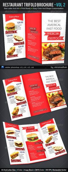 Restaurant TriFold Brochure | Volume 2  #GraphicRiver         Restaurant TriFold Brochure | Volume 2   Specs  :   adobe photoshop cs3, cs4, cs5, cs6 Resolution 300 dpi Size Letter and A4, with 0.25 Bleed Color CMYK Photo not included on download files   Fonts   :   Bellerose : .dafont /bellerose.font Open Sans : .google /fonts/specimen/Open+Sans     Created: 3November13 GraphicsFilesIncluded: PhotoshopPSD Layered: Yes MinimumAdobeCSVersion: CS3 PrintDimensions: 8.5x11 Tags: adv…