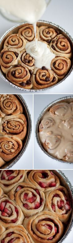 Homemade Cinnamon Rolls! Variations for Strawberry, Caramel Cashew & Dark Chocolate -- oh man those sound good!