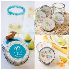 Margarita salt wedding favors personalized label options - Our personalized margarita salt wedding favors are always well-received at destination weddings, anniversaries, or as shower gifts. Each favor comes with a 3 oz tin of our all-natural colored margarita salt, a personalized margarita recipe card and a custom two-color favor label for the tin. This unique wedding favor fits easily into welcome bags, too!