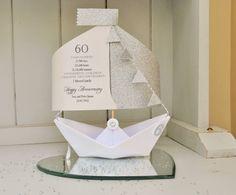 60th Diamond Wedding Anniversary Paper Boat Card