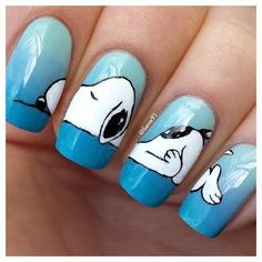 SNOOPY NAILS Anyone out there, are you talented to do this to my nails? Crazy Nail Art, Crazy Nails, Cute Nail Art, Cute Nails, Pretty Nails, Animal Nail Designs, Animal Nail Art, Acrylic Nail Designs, Nail Art Designs
