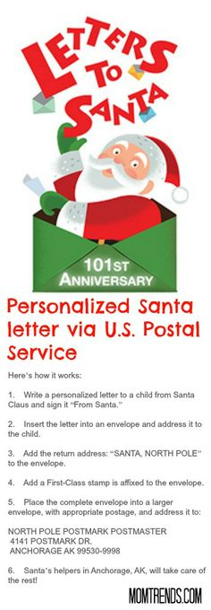 Deadline is today! Get a letter from #Santa postmarked from North Pole.