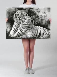 Visit my Shop to use this coupon code for 20% off: XMAS16 --- Until 7th December 2016. --- LARGE wall ART Tiger drawing art PRINT pencil drawing Tiger couple black and white wildlife illustration large tiger decor by DrawingIllustration