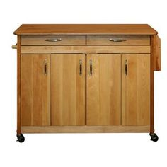 Catskill Butcher Block Island with Flat Doors and Drop Leaf