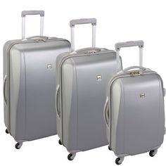 Skyflite Elan 4 Wheeled Hard Set of Three Trolley Suitcases (Silver)