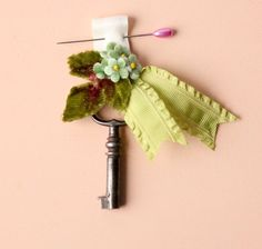groomsmen boutonniere embellished antique key pin by whichgoose