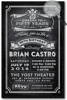 Cheers For Fifty Years Birthday Party Invitations Printed Invites Men Themes 50