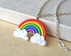 Rainbow Necklace Polymer Clay Handmade Pendant