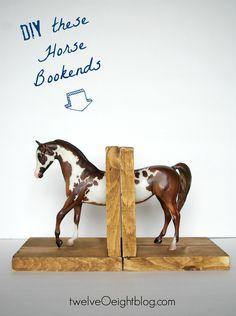 DIY Horse Bookends twelveOeightblog.com