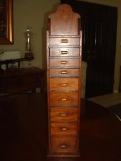 Vintage Antique Primitive Wooden Spice Cabinet with Eight Drawers ...