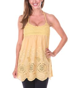 Another great find on #zulily! Yellow Floral Crocheted Halter Top by Ananda's Collection #zulilyfinds