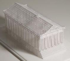 "As ""maquetes"" de papel recortado de edifícios históricos americanos de Jill Sylvia"