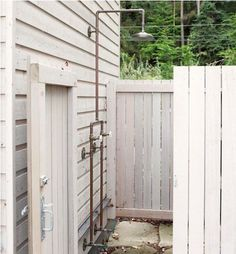 An outdoor shower by Northwest-based Bosworth Hoedemaker Architects.