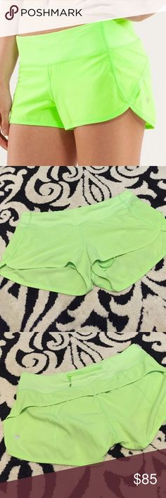 Lululemon speed shorts Neon green. Perfect condition! Fun bright color. Rare color!! lululemon athletica Shorts