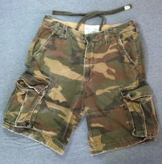 ABERCROMBIE & FITCH Cargo Shorts Twill 7 Pocket Military Heavy ...