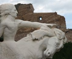 Crazy Horse Memorial, Crazy Horse, South Dakota (Model up close, real thing 2 miles away in background) Places To Travel, Places To See, Places Ive Been, Crazy Horse Memorial, Into The West, Native American History, American Indians, Vacation Spots, Vacation Places