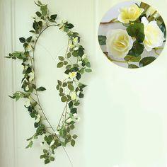 Artificial Silk Rose Flower Ivy Vine Green Leaf Hanging Garland Home Wedding Party Decor 5 Color