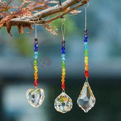 Set 3 Crystal Suncatcher Prisms Hanging Drop Rainbow Maker Garden Home Decor