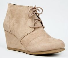 Qupid Women's Lace Up Faux Suede Ankle Wedge Booties:Amazon:Shoes