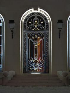 Facade Lighting, Exterior Lighting, Strip Lighting, Cool Lighting, Wrought Iron Security Doors, Wrought Iron Doors, Architectural Lighting Design, Lighting Concepts, Aquarium Design