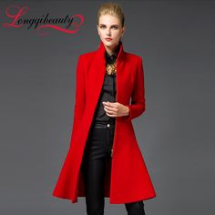Cheap coated fence, Buy Quality coats toddler directly from China outerwear hooded Suppliers:  2016Fashion Women Trench Woolen Coat Winter Slim Long Mandarin Collar Overcoat New Spring Red Black Coats Long Wo