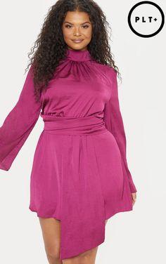 Plus Fuchsia Hammered Satin High Neck Drape Shift Dress Silky Dress 8db8e041f
